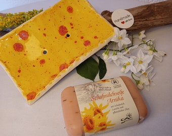 Gift Set Ceramic Soap Dish & Natural Soap