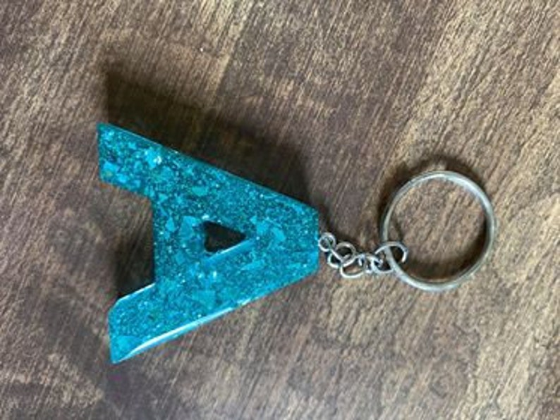 Letter Initial Resin Keychain