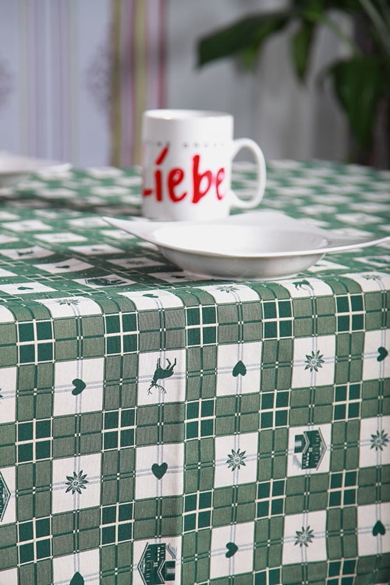 Tablecloths table linen country style in green