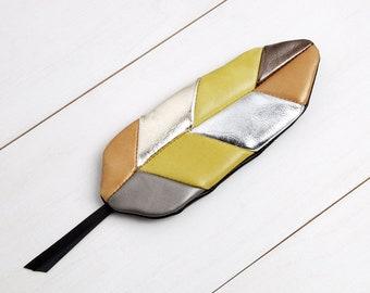 "Feather bag ""gold-silver-lemon yellow"""