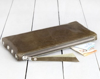 """Leather Wallet """"olive green"""""""