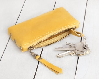 "Leather key bag ""Warm yellow"""