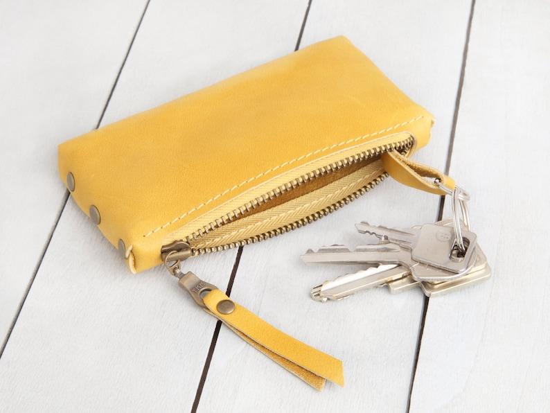Leather key bag Warm yellow image 0