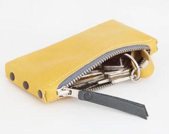 """Leather Key Bag """"Warmgelb-Blue"""""""