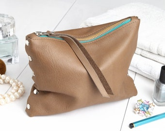 """Cosmetic bag """"Warmbraun-turquoise-Currygelb"""""""