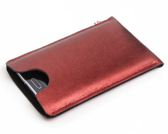 """Leather smartphone case """"glossy red-black"""""""