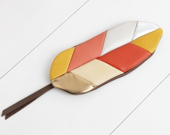 """Feather pocket """"red-yellow-silver-gold"""""""