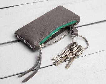 "Leather key bag ""Grey-Green-Light Grey"""