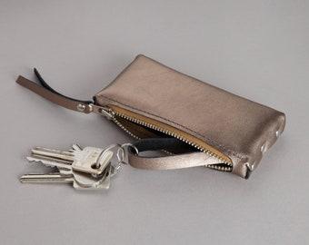 "Leather key bag ""Warm gold"""