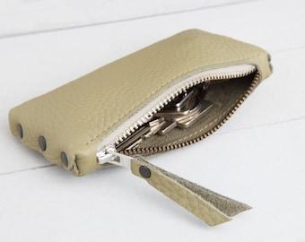 "Leather key bag ""Helloliv green"""