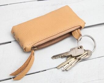 """Leather Key Bag """"cognac"""""""