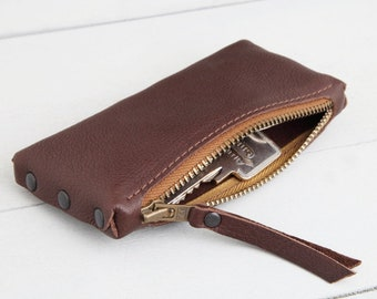"""Leather key bag """"Warm brown red-brown curry"""""""