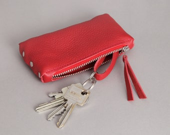 """Leather Key Bag """"Red"""""""