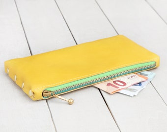 """Leather Purse """"yellow-gold-turquoise-light green"""""""