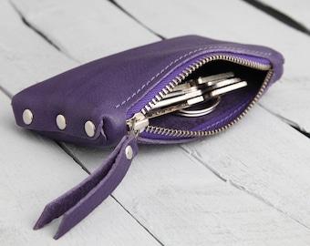 """Leather Key Bag """"purple"""""""