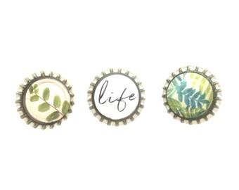 Botanical Refrigerator Magnets   Leaf Print   Kitchen Magnets   Decorative Magnets   Fridge Magnets   Magnets for Boards   Magnets Set of 3