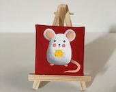 Topo dipinto su tela 7x7 cm con cavalletto
