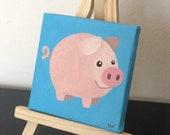 Mini tela 7x7 cm con cavalletto in legno raffigurante un maialino dipinto a mano