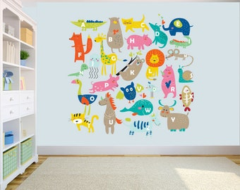 Animal Alphabet ABC Kids Wall Stickers Wall Decals Peel U0026 Stick Removable  Wall Stickers For Kids Nursery Bedroom Living Room Free UK Postage