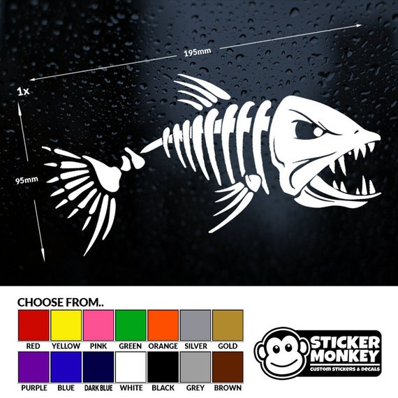 Skeleton Fish Stickers//Car//Van//Bumper//Window//Decal Fishing Angling T
