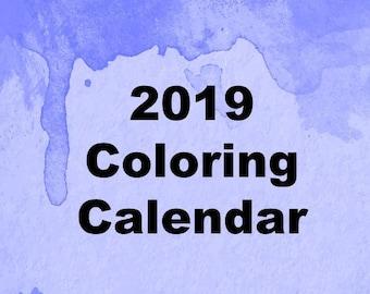 coloring calendar etsy