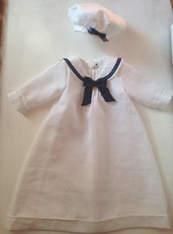 Taufkleid Junge Mädchen Leinen Taufe Marinestil Familientaufkleid Cedric