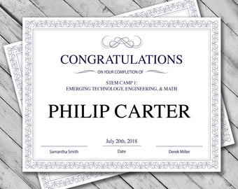 printable certificate template instant download certificate template certificate of completion template personalized diploma certificate - Customizable Certificate Template
