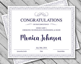 editable certificate template instant download certificate template certificate of completion template personalized diploma certificate - Stem Certificate Template
