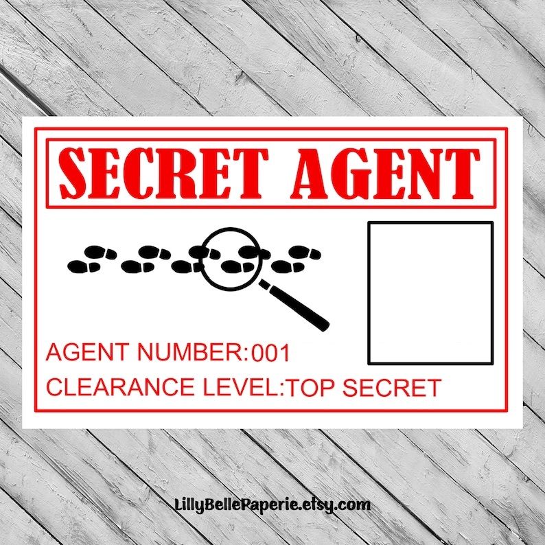 photo relating to Secret Agent Badge Printable known as Spy Solution Consultant Birthday Celebration Ideny Identity Badge -Printable Record - James Bond Topic - Identity Card - Identification Card - Fingerprint History