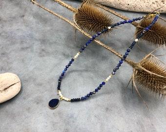 Short Chain Lapis Lazuli Freshwater Pearls Drusenachat Pendant