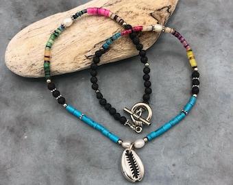 short chain shell beaded lava delicate fine boho hippie