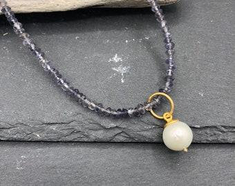 short chain quartz beadpendant real silver plated