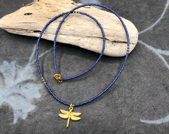 short chain blue delicate fine boho hippie dragonfly dragonfly