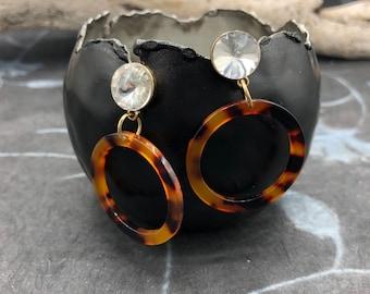 Earrings resin ornament tortie optics crystal