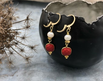 Earrings earrings Creole gold freshwater pearl coral