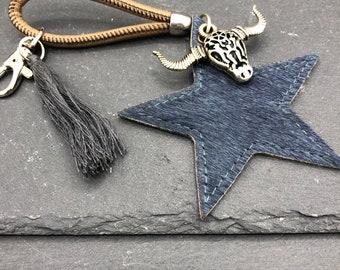 Leather Star Keychain Pocket Tree