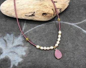 short chain Druse agate purple delicate fine boho hippie