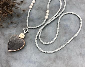 Long Necklace Heart Pendant Horn Beads