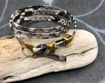 Wrap bracelet leather reptilla deprint star star