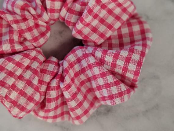 Pink Gingham Scrunchie