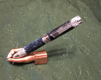 Antique Pewter Dragon pen with Elegance Purple and Amber Acrylester Vivid Polyester