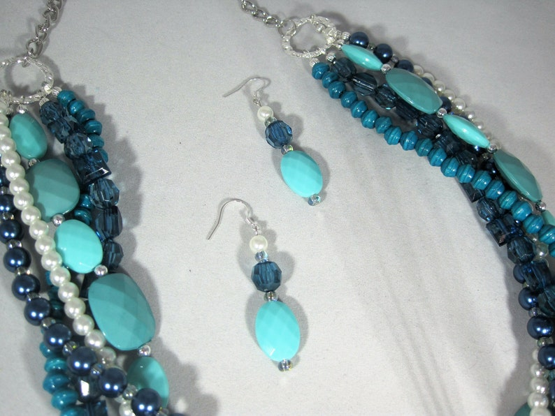 GORGEOUS One-of-a-Kind 5 Strand Shades of Blue Beaded Statement Necklace Set
