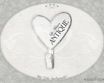 "Wall hook ""La Maison Antique"" / wooden hook shabby-chic / wall wardrobe wood / wood decoration shabby-chic / decoration heart shabby-chic"