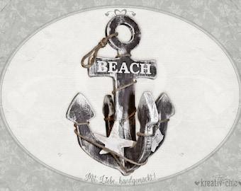 """Wooden anchor """"Beach"""" / Decorative anchor vintage / Bath deco"""
