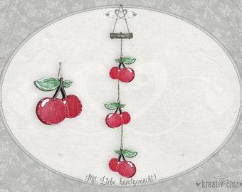 "Decorative pendant ""Cherries"" / Kitchen decoration shabby-chic / Decoration fruit wood / Decorative cherries wood"