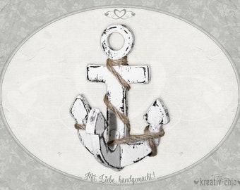 "Decorative wooden anchor ""shabby-chic"" / Baddeko Shabby / Maritime Deco Shabby / Wooden anchor"