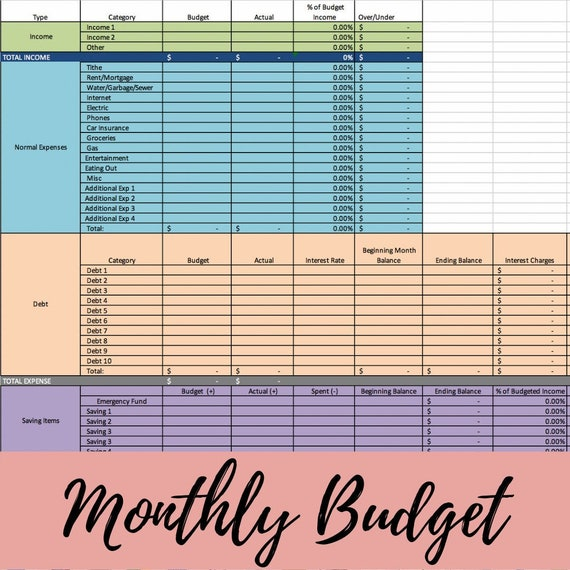 Monthly Budget Template Zero Based Budget Excel Download Etsy