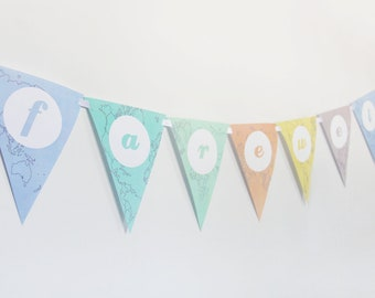 farewell banner printable farewell bunting bon voyage world map instant download