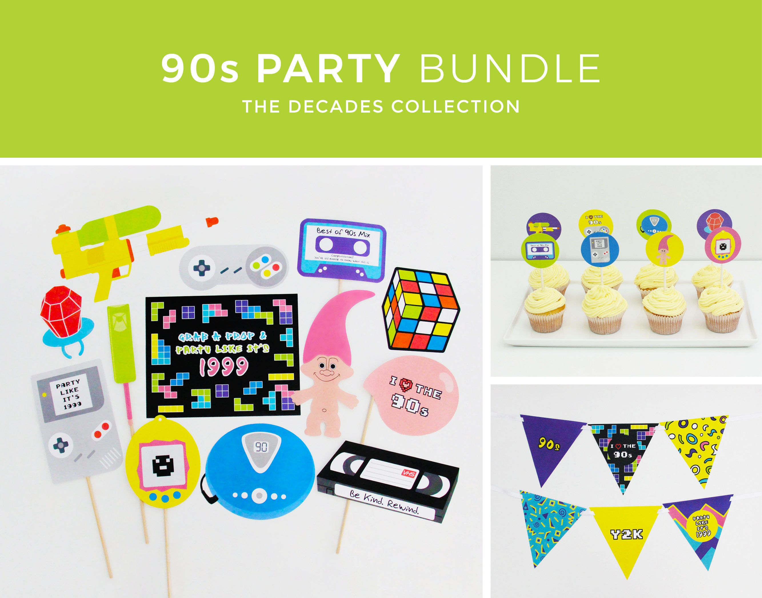 90s Party Decorations 90s Party Photo Booth Props 90s Etsy