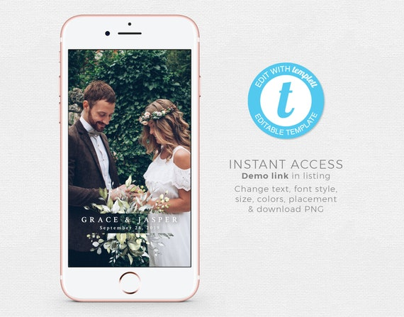 Rustic Wedding Snapchat Geofilter Leaves Garden Boho Wedding Templett Engagement Snapchat Filter INSTANT DOWNLOAD Editable Template